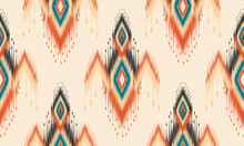 Ikat Geometric Folklore Ornament With Diamonds.Design Forbackground,carpet,wallpaper,clothing,wrapping,Batik, Fabric, Vector Illustration.embroidery Style.