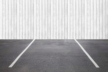 Empty Outdoor Car Parking Spaces At Building Office