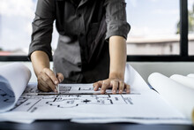 Architect Engineers Are Writing House Plans In Order To Modify Some Of The Designs According To The Needs Of The Customers After The Proposals Are Requested To Modify The Drawings. Interior Design.