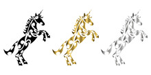 Three Color Black Gold Silver Line Art Vector Of Unicorn With Front Legs Raised Suitable For Use As Decoration Or Logo