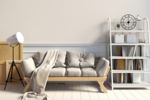 Modern Interior With Rack And Sofa. Wall Mock Up. 3d Illustration.