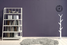 Modern Interior With Rack. Wall Mock Up. 3d Illustration.