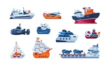 Cartoon Boats. Sea Transport. Fishing Trawler And Cargo Ship. Wooden Sailboat. Funny Submarine And Warship. Ferry Or Steamboat. Cruise Yacht. Vector Shipping Or Passenger Vessels Set