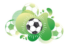 Hand Drawn Football, Soccer Ball Sketch. Fluid Abstract Background. Banners With Flowing Liquid Shapes. Vector