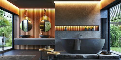 Wallpaper Mural Bathroom interior design with double sink and matte black bathtub