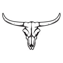Illustration Of Buffalo Skull In Monochrome Style. Design Element For Logo, Label, Sign, Emblem. Vector Illustration