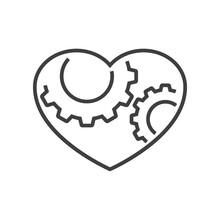 Logotipo Con 2 Engranajes En Corazón Con Lineas En Color Gris