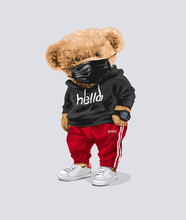 Cute Bear Doll In Black Face Mask And Track Pant Vector Illustration