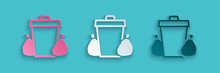 Paper Cut Trash Can Icon Isolated On Blue Background. Garbage Bin Sign. Recycle Basket Icon. Office Trash Icon. Paper Art Style. Vector