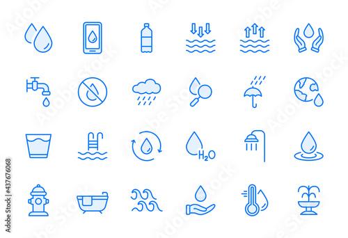 Carta da parati Water Line Icon Set