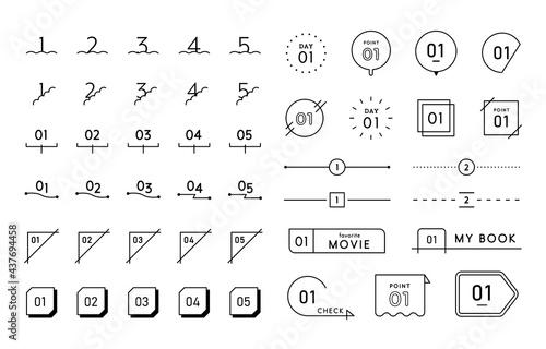 数字のフレームセット シンプル 番号 ナンバー イラスト 飾り罫 あしらい 装飾 素材