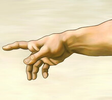 """Part Of Michelangelo Buonarroti Fresco Painting """"The Creation Of Adam"""". Biblical God's Right Arm. Redrawing And Restoration With Digital Supplies By Mira Kunstler. 300 Dpi Resolution. 24-bit Image."""