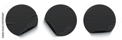 Glued round black stickers with curled edges set isolated on white background Fototapet