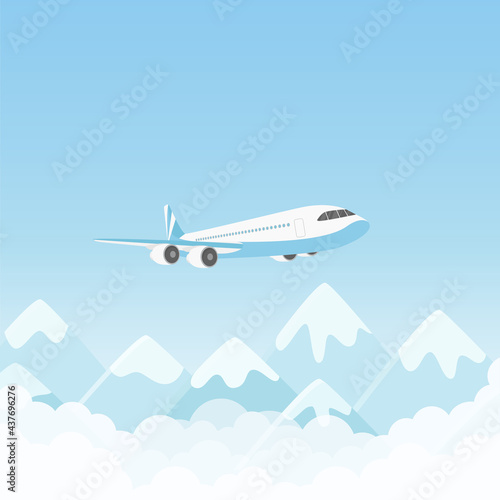 Papel de parede Airplane flight, air plane flying over mountains in blue sky vector illustration