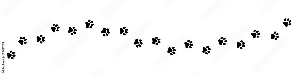 Fotografie, Obraz Paw print cat, dog, puppy pet trace. Flat style - stock vector.