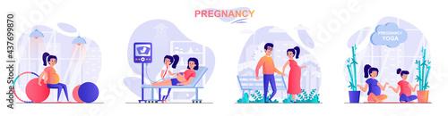 Foto Pregnancy concept scenes set