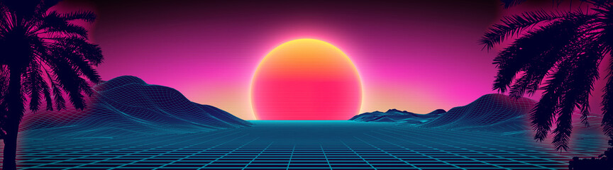 3d sunset on the beach. Retro palms vector sci fi background. Digital landscape cyber surface. 80s party background.