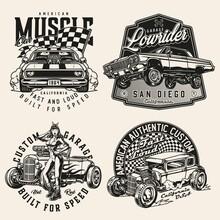 Custom Cars Vintage Monochrome Prints