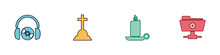 Set Headphones And CD Or DVD, Tombstone With Cross, Burning Candle In Candlestick And FTP Settings Folder Icon. Vector