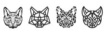 Collection Silhouettes Of Cat Head In Monochrome Different Styles Isolated On White Background. Modern Graphic Design Element For Label, Print Or Poster. Vector Art Illustration.