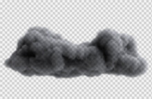 Realistic Overcast Rain Cloud Isolated On Transparent Background. Bright Design Element. Vector Illustration.