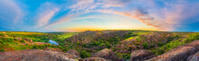 Panoramic Landscape Of Sunset At The Aktovsky Canyon On The Mertvovod River. Vivid HDR Scenery