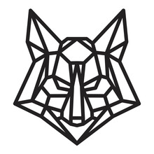 Silhouette Of Fox Or Wolf Head From Lines In Monochrome Geometric Polygonal Style Isolated On White Background. Modern Graphic Design Element For Label, Print Or Poster. Vector Art Illustration.