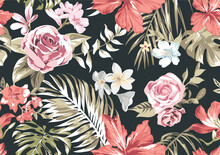 Seamless Pattern With Tropical Flowers And Palm Leafs Vector Illustration
