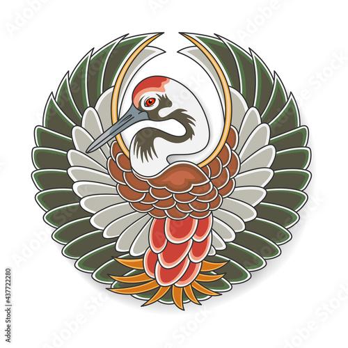 Fototapeta premium Symbol of Japanese stork Tanko. Old traditional Japanese art. Vector, EPS 10.