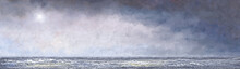 Oil Paintings Sea Landscape, Fine Art, Water Flowing From The Water