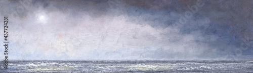 Fotografija Oil paintings sea landscape, fine art, water flowing from the water