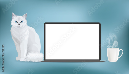 Obraz na plátně Vector mock up realistic laptop with blank screen display and white cat and coffee cup near a computer