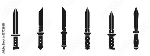 Fotografia black bayonet weapon vector collection