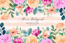 Watercolor Flower Frame. Pink Orange Rose Flower Background