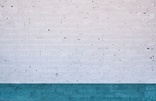 White And Teal Brickwall