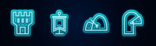 Set Line Castle Tower, Medieval Flag, Bale Of Hay And Rake And Iron Helmet. Glowing Neon Icon. Vector
