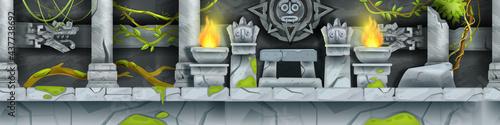 Obraz na płótnie Stone Aztec temple, seamless vector cartoon Maya game landscape, ancient tomb interior, pillars