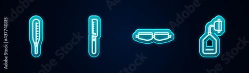 Obraz na plátně Set line Medical thermometer, saw, Safety goggle glasses and oxygen mask