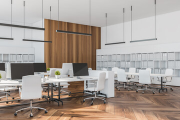 White open space office with meeting room corner