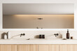 Leinwandbild Motiv Light bathroom interior with two sinks and long mirror