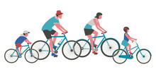 Dad, Mom, Kids Ride Bicycle Flat Color Vector Icon. Mother, Father, Girl, Boy Cycling Cartoon Design Element. Family Active Leisure Activity. Parents, Child Together Outdoor Bicycling Illustration