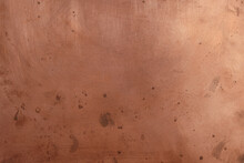 Copper Surface With Oxidizing Spots. Reflection.