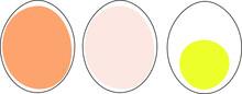 Set Of Three Eggs Simple Decorative Elements On Transparent Background