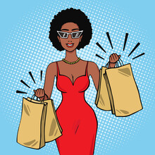 Smiling African American Woman With Shopping Bags Vector Illustration In Pop Art Retro Comic Style
