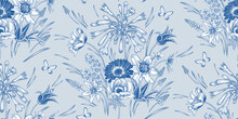 Spring Vintage Seamless Pattern. Flowers And Butterflys. Blue And White