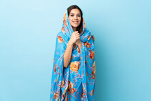 Young Moroccan Woman With Traditional Costume Isolated On Blue Background Laughing