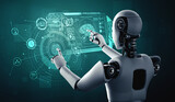 AI humanoid robot touching virtual hologram screen showing concept of AI brain and artificial intelligence thinking by machine learning process. 3D illustration.