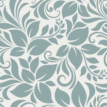 Vector Seamless Blue Floral Pattern.