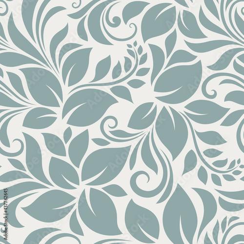 Vector seamless blue floral pattern. Fototapet