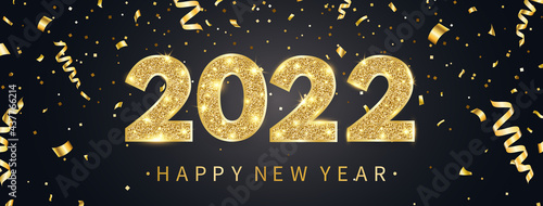 Fotografiet 2022 Happy New Year greeting card with golden confetti